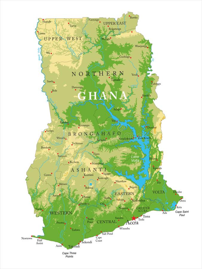 Körperliche Karte Ghanas vektor abbildung