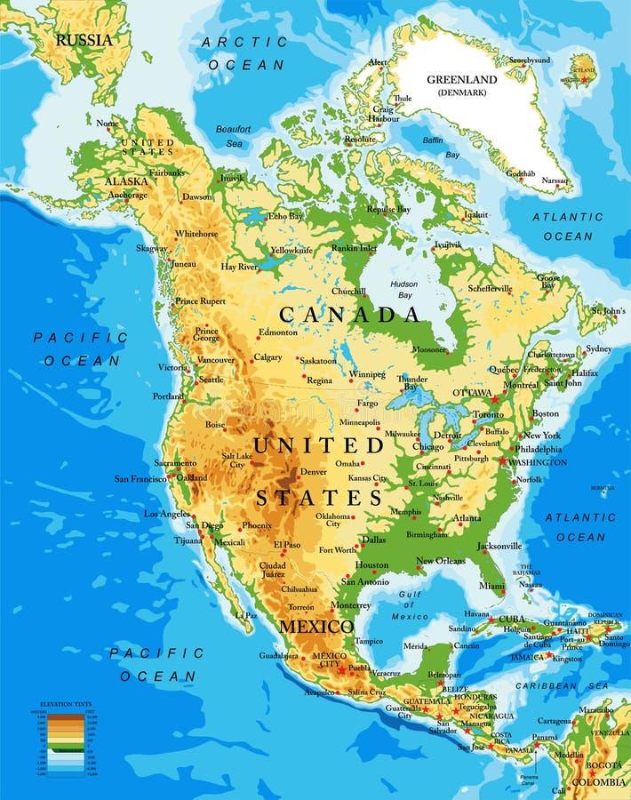Körperliche Karte von Nordamerika lizenzfreie abbildung