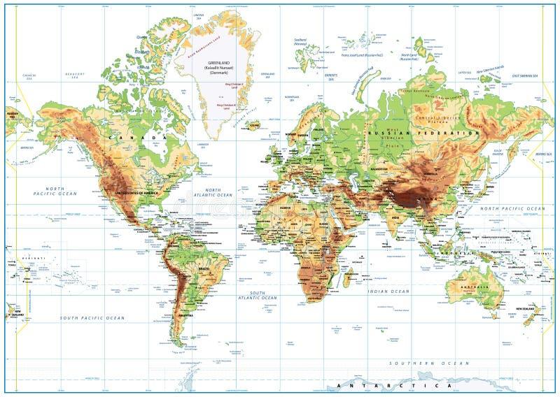 Körperliche Weltkarte lokalisiert auf Weiß mit der Kennzeichnung lizenzfreie abbildung