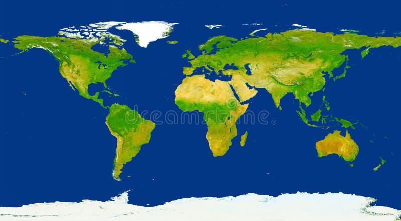 Körperliche Weltkarteillustration XXL-Größe Primäre Quelle, elemen lizenzfreie stockbilder