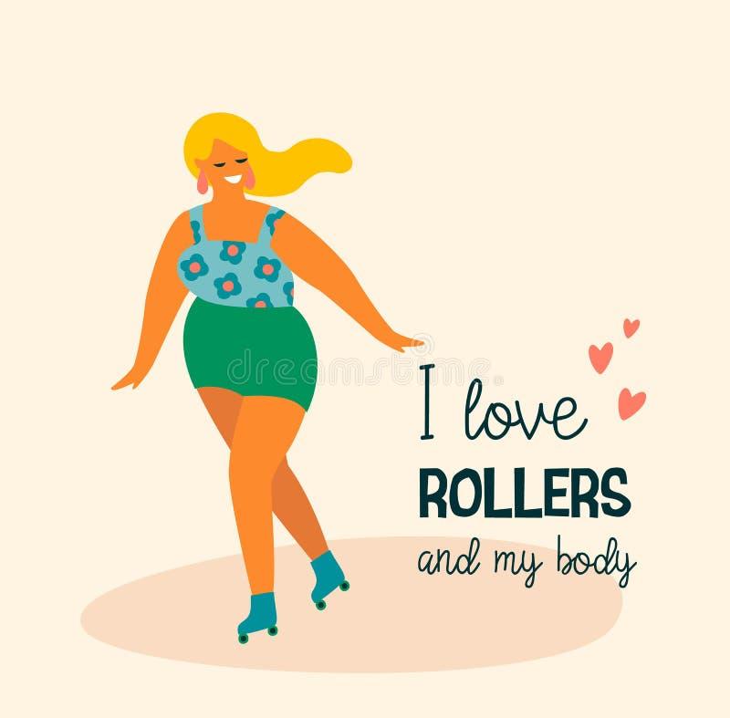 Körperpositiv Glücklich plus Größenmädchen und aktiven Lebensstil lizenzfreie abbildung