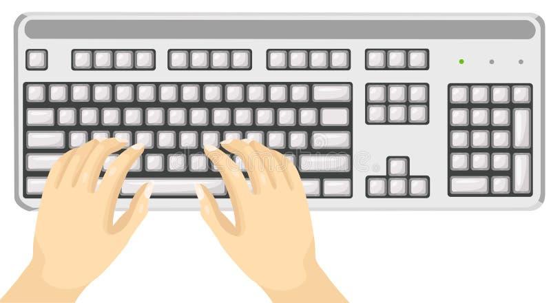 Körperteilhände unter Verwendung der Tastatur stock abbildung