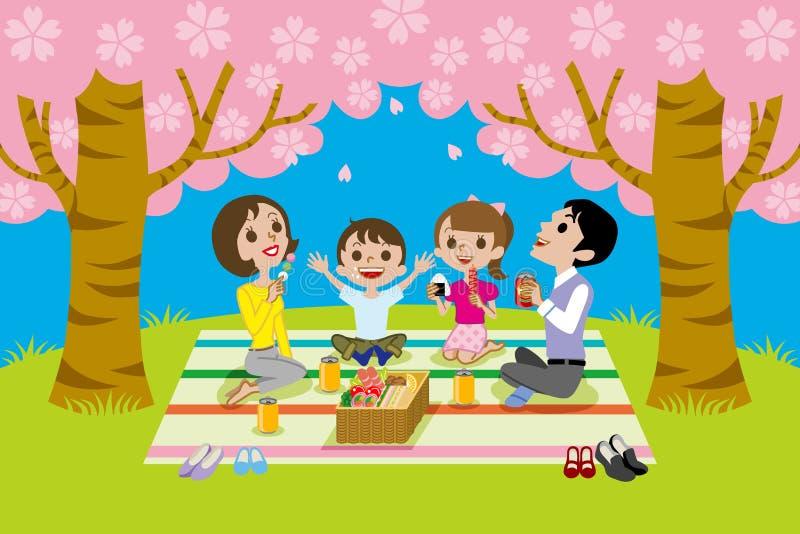 Körsbär-blomning visning, familj royaltyfri illustrationer