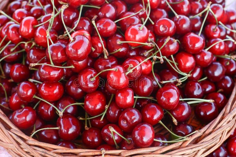Körsbär många körsbär som är röda royaltyfria foton