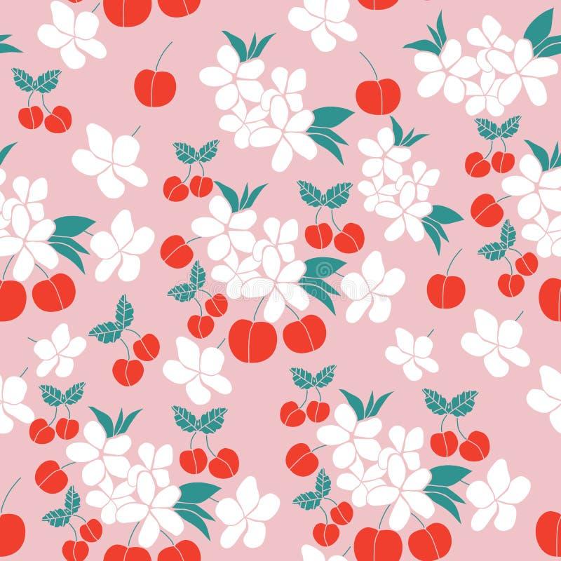 Körsbär och blommor, i en sömlös modelldesign vektor illustrationer