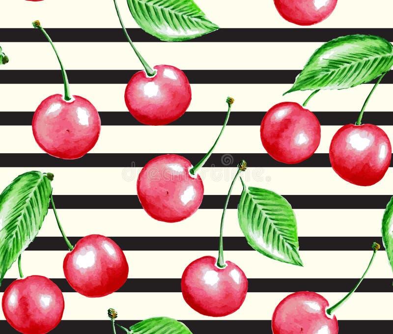Körsbär och linje royaltyfri illustrationer