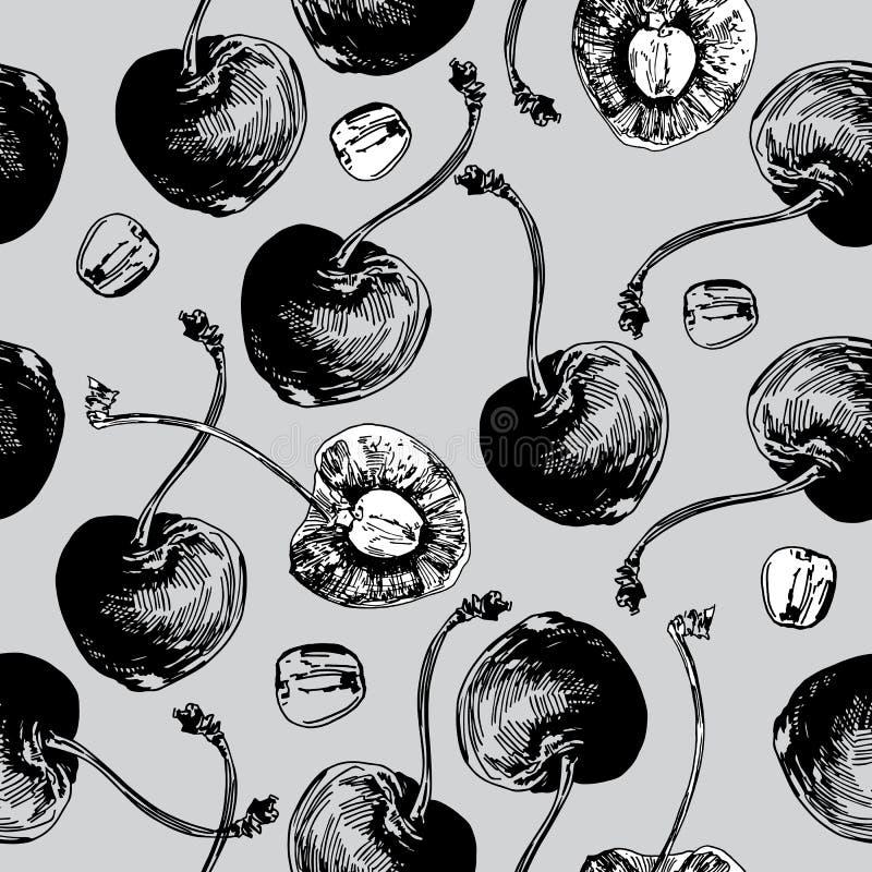 Körsbär räcker den utdragna grafiska modellen på Grey Background stock illustrationer
