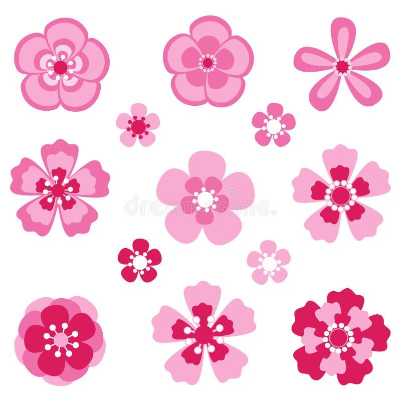 Körsbärsröd blomning Sakura blommor vektor illustrationer