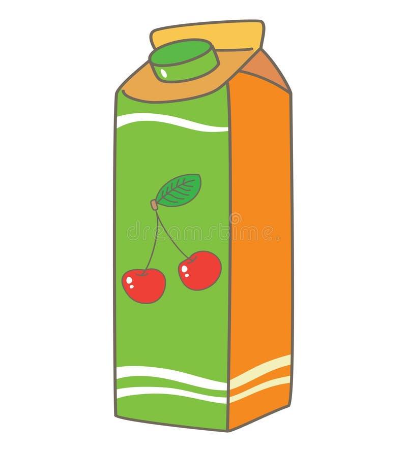 Körsbärsröd fruktsaftask som packar den tetra packen vektor illustrationer