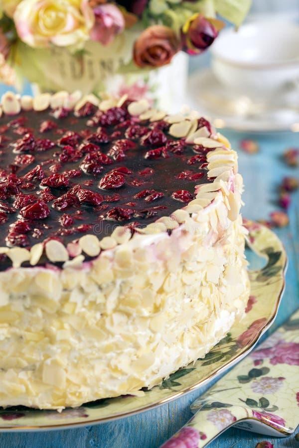 Körsbärsröd kaka med vaniljkräm royaltyfri bild