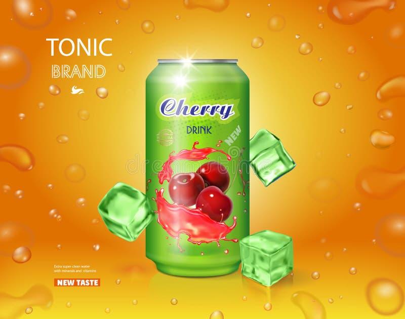 Körsbärsröd kall drink Metall kan med fruktsaftfärgstänk som annonserar illustrationen för vektorn för banret 3d den realistiska royaltyfri illustrationer