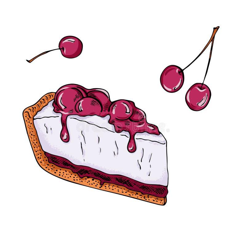 Körsbärsröd ostkaka med driftstopp Hand tecknad vektorillustration stock illustrationer