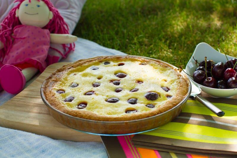 Körsbärsröd pajpicknick i trädgården royaltyfria bilder