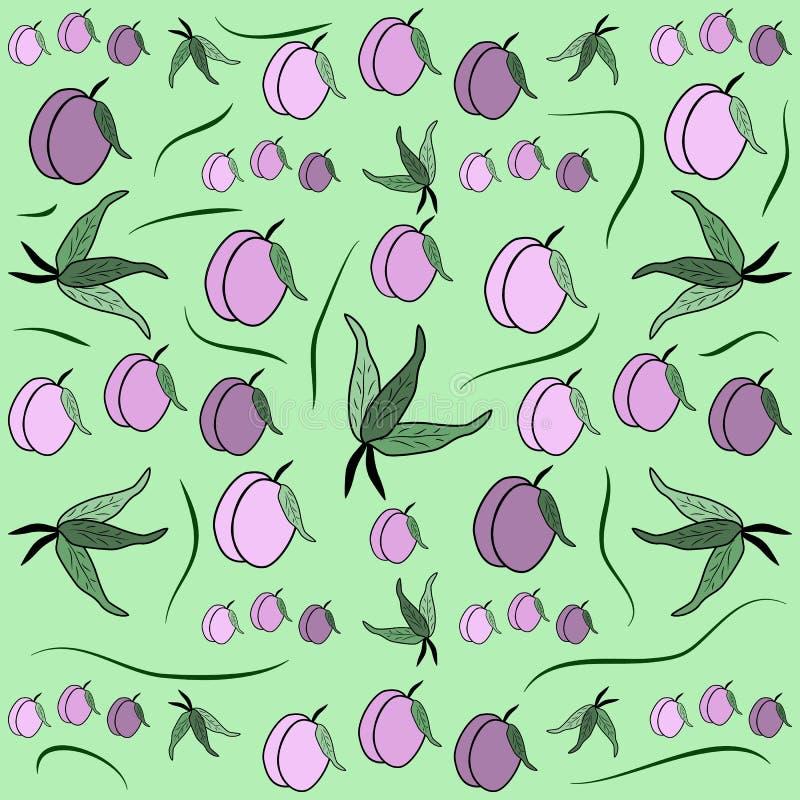 Körsbärsröd plommon Fruktmodell från plommonet med bladet, kort, tyg, ta vektor illustrationer