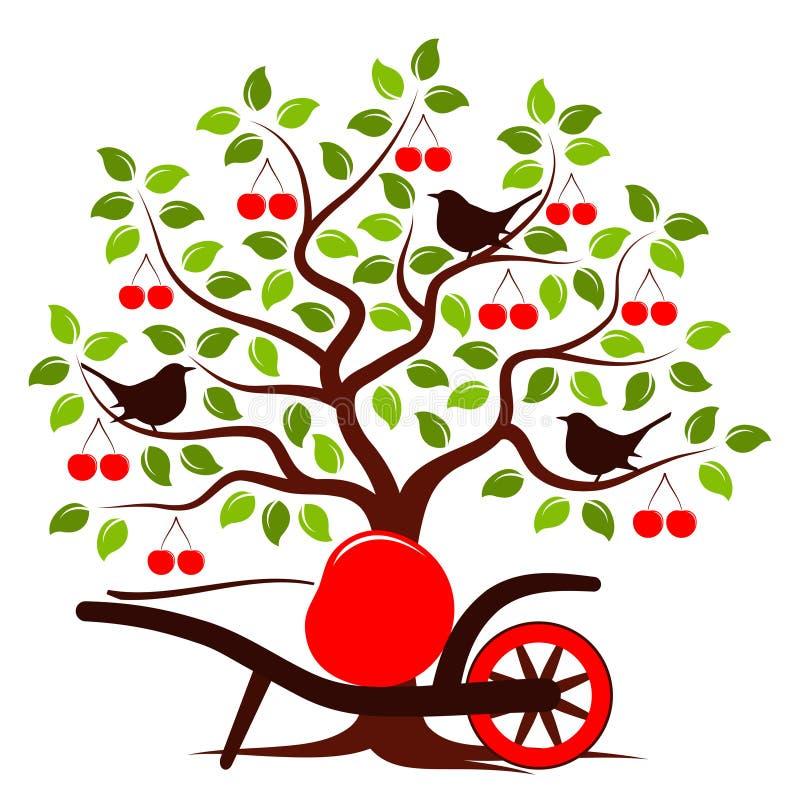 Körsbärsröd skörd royaltyfri illustrationer