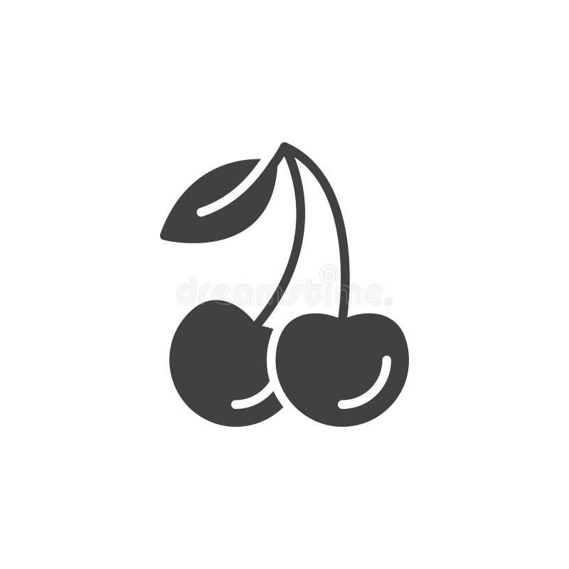 Körsbärsröd symbolsvektor, fyllt plant tecken, fast pictogram som isoleras på vit royaltyfri illustrationer