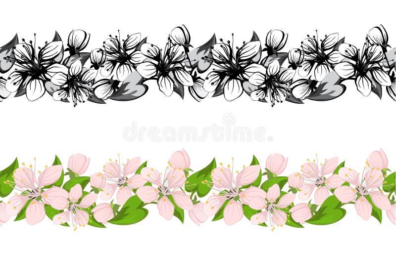 körsbärsröda blomningar royaltyfri illustrationer