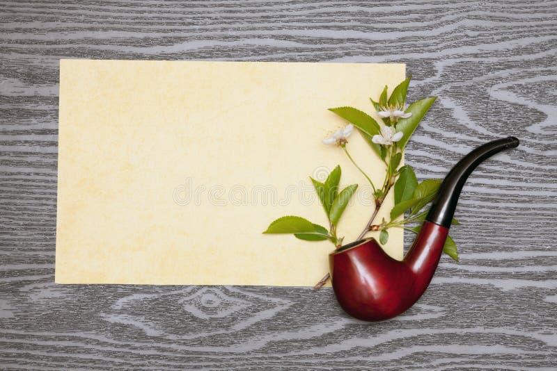 Körsbärsröda blomningar och papper arkivfoton
