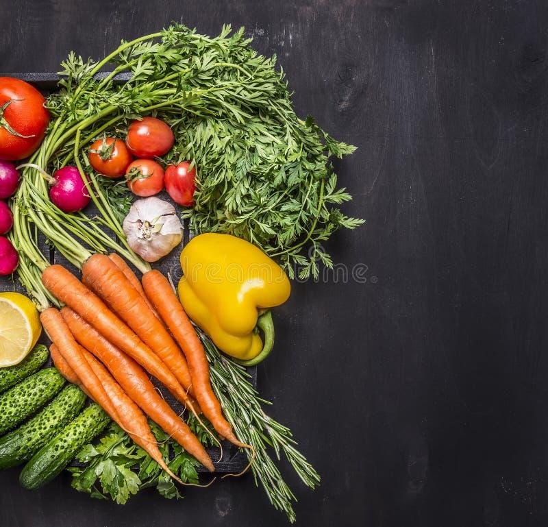 Körsbärsröda tomater för organiska morötter för lantgårdgrönsaker nya, vitlök, gurka, citron, peppar, rädisa, salt träsked och pe royaltyfria foton