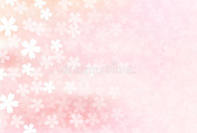 Körsbärsrött illustrationmaterial som avbildade den japanska våren stock illustrationer