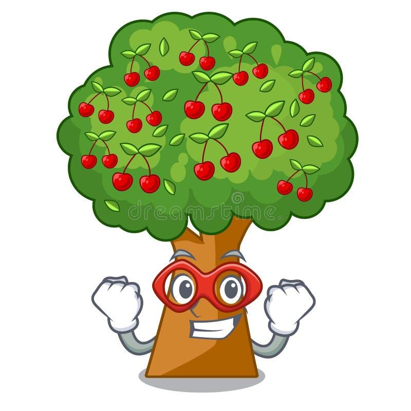 Körsbärsrött träd för toppen hjälte som isoleras i maskot royaltyfri illustrationer
