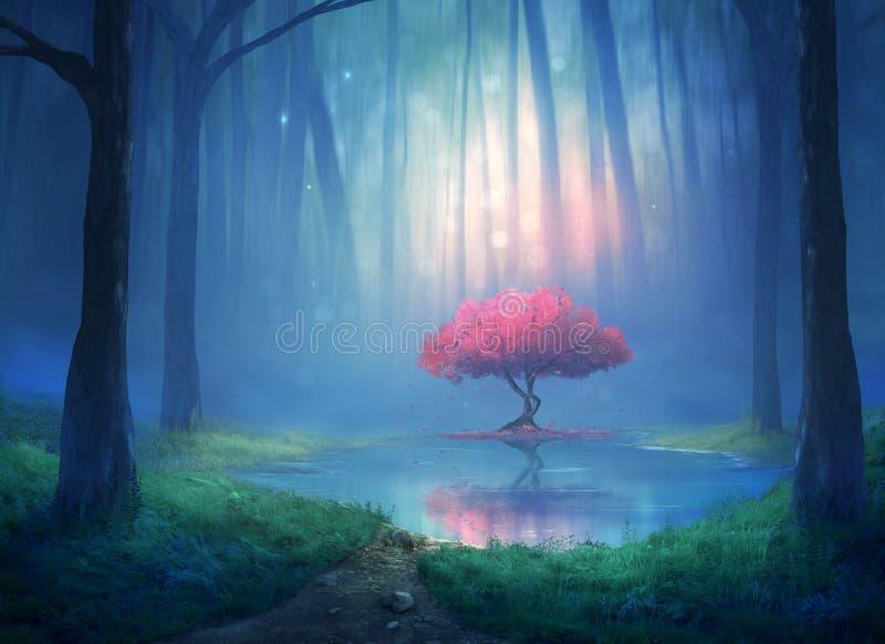 Körsbärsrött träd i skogen vektor illustrationer