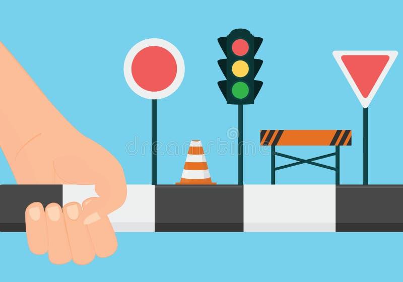 Körskolabegrepp Lär vägreglerna och undertecknar vektorillustrationen stock illustrationer