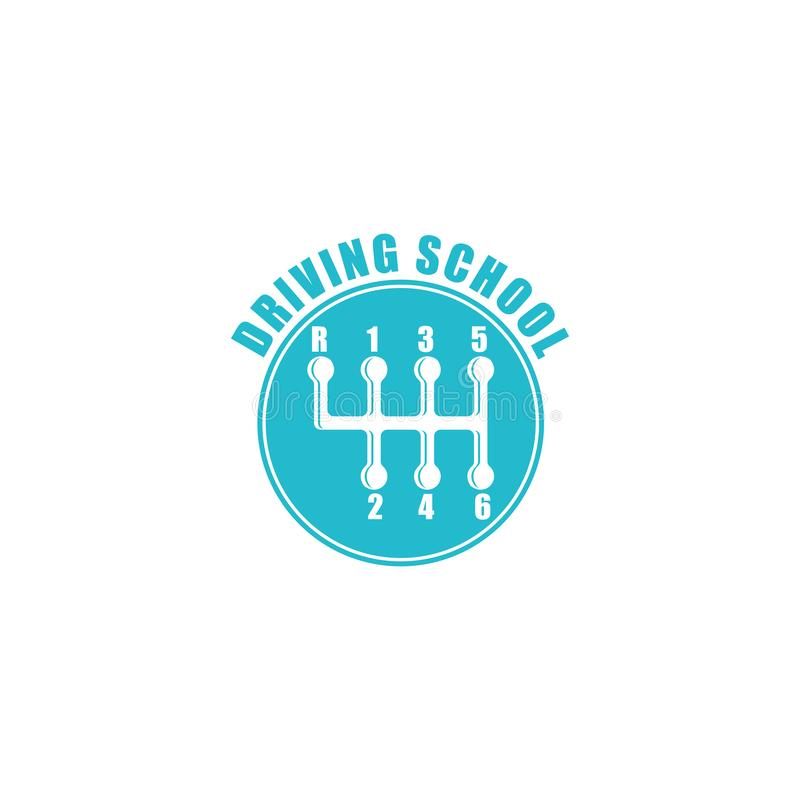 Körskolalogo, sex blåa emblem för växelspakknopp, automatisksymbol royaltyfri illustrationer