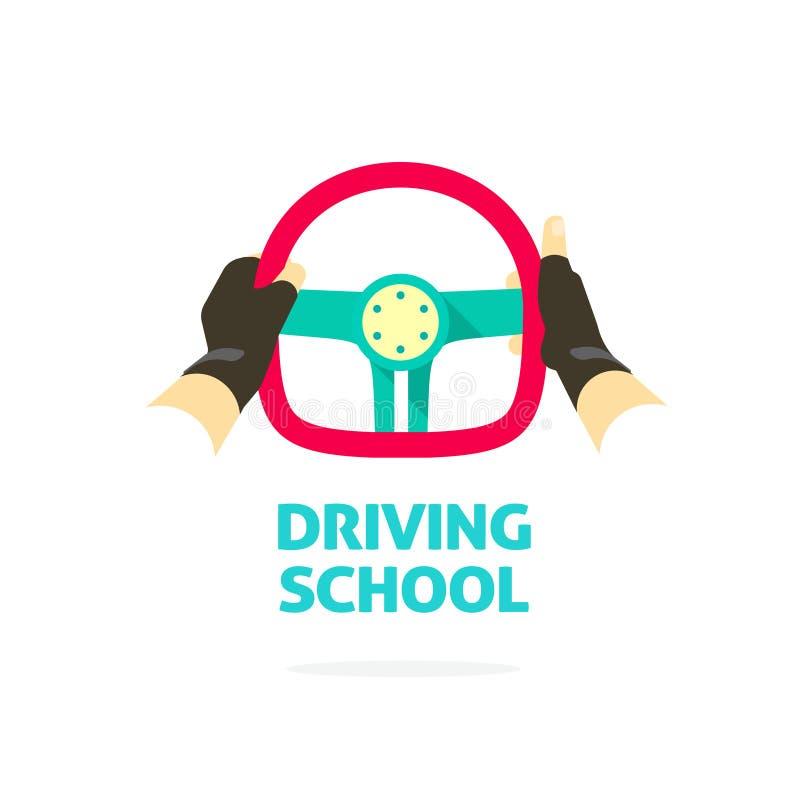 Körskolalogomallen, händer som rymmer styrninghjulet, tummar upp stock illustrationer