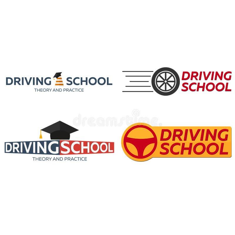 Körskolalogouppsättning Auto utbildning Reglerna av vägen vektor illustrationer