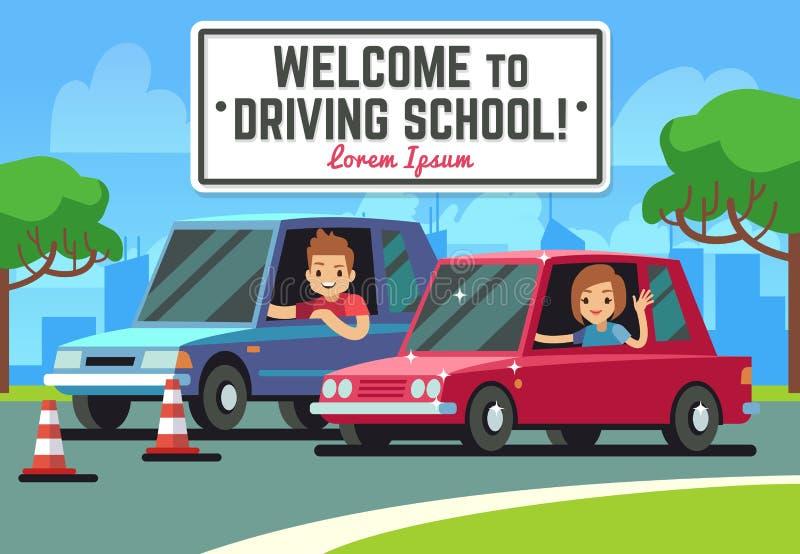 Körskolavektorbakgrund med den unga lyckliga chauffören i bilar på vägen vektor illustrationer