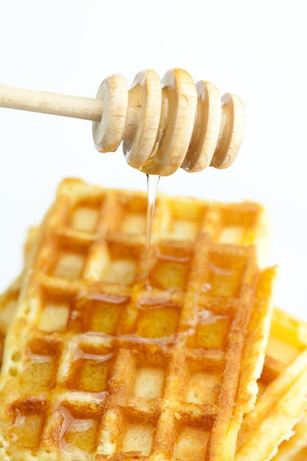 Köstliche belgische Waffeln und Steuerknüppel zum Honig lizenzfreie stockfotos