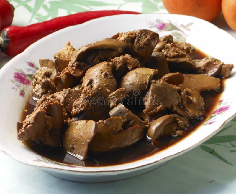 Köstliche chinesische Nahrung briet Teller - heiße Schweinefleischleber stockfotos