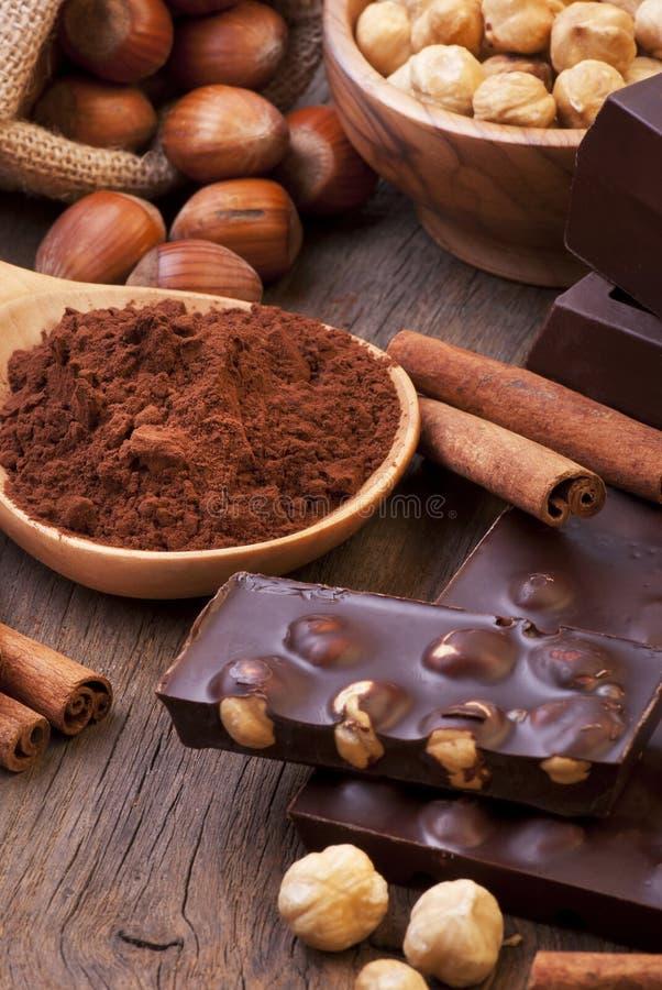 Köstliche dunkle Schokolade mit Haselnüssen stockfotografie