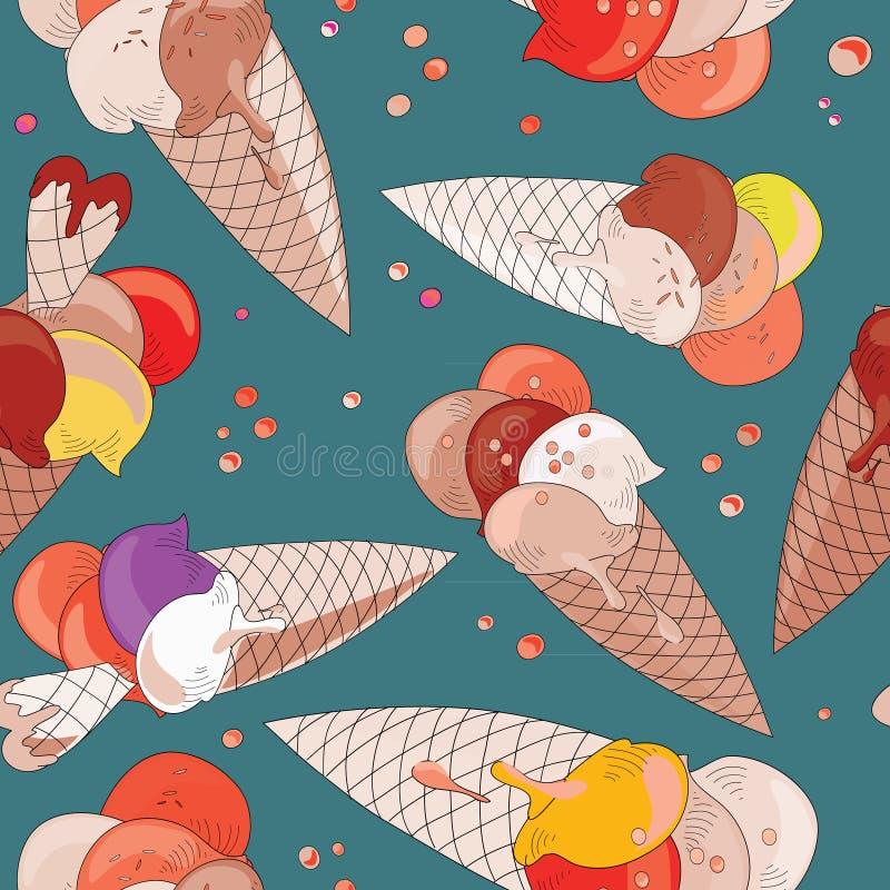 Köstliche Eiscreme in den Kegeln mit Waffelherzen Nahtloses Muster Vektorillustration auf dunklem Türkishintergrund lizenzfreie abbildung