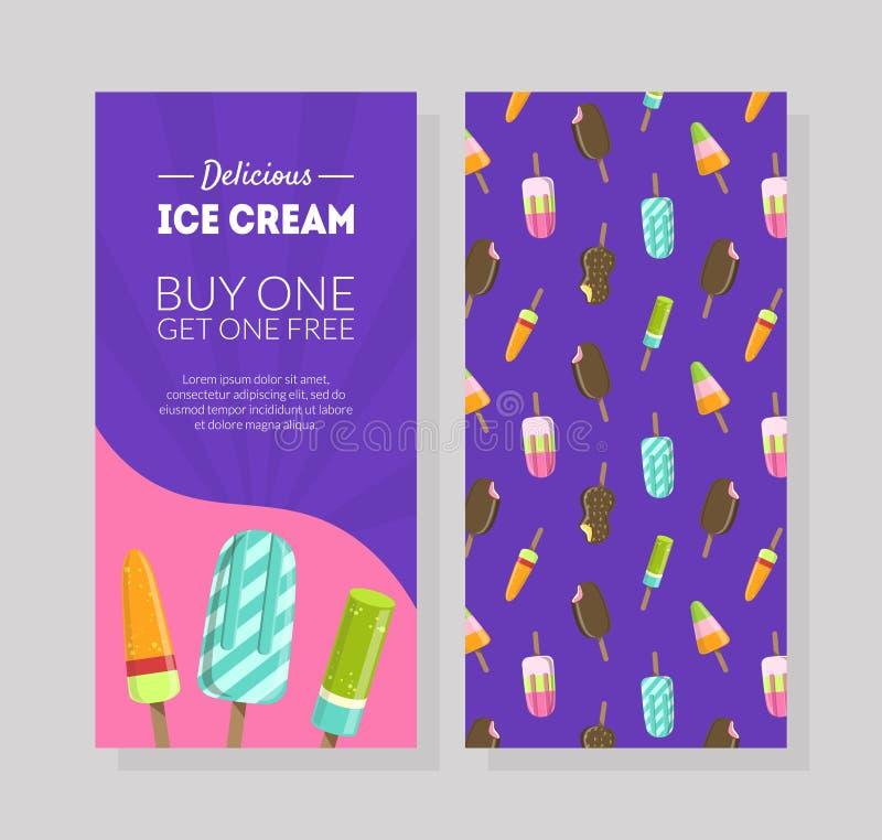 Köstliche Eiscreme-Flieger-Schablone, Kauf man erhalten ein frei, Geschenkgutschein, Zertifikat oder Kupon mit Markt-Sonderangebo lizenzfreie abbildung