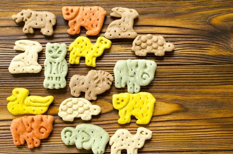 Köstliche farbige zoologische Kekse für Hunde mit unterschiedlichem stockbild