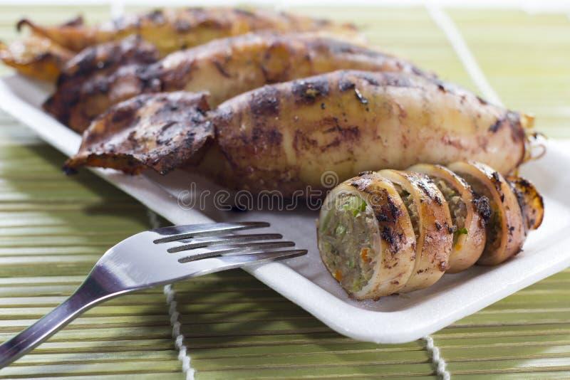 Köstliche gegrillte Kalmare stockbilder