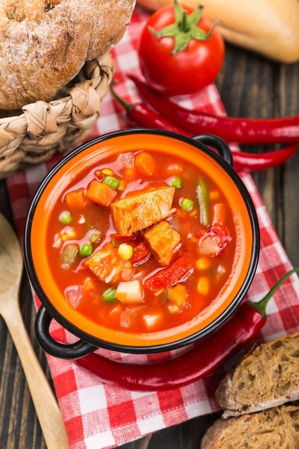 Köstliche Kalbfleischeintopfgerichtsuppe mit Fleisch und Gemüse lizenzfreie stockfotografie