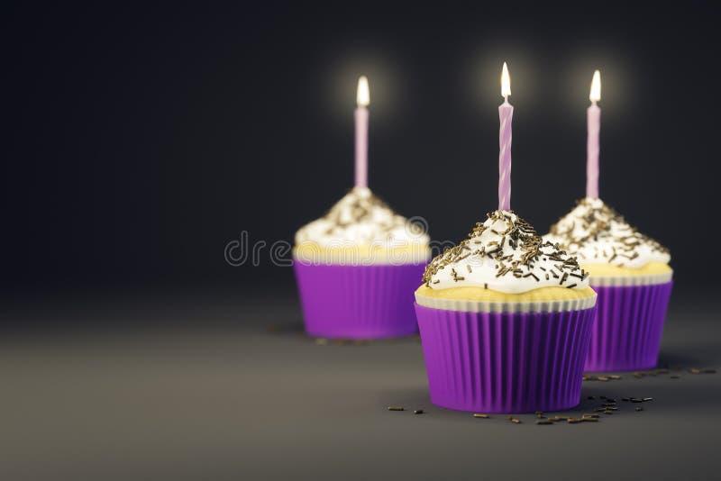 Köstliche kleine Kuchen mit brennenden Kerzen vektor abbildung