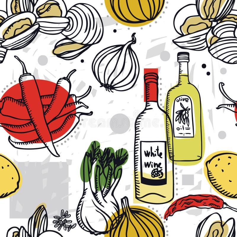 Köstliche Muscheln der Lebensmittel-Sammlung mit Schalotten-, Weißwein- und Paprikapfeffer lizenzfreie abbildung
