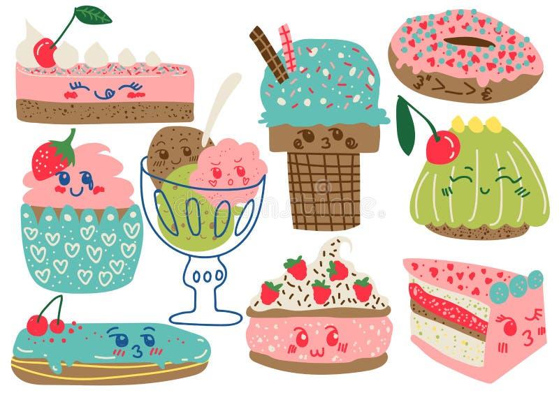 Köstliche Nachtische Satz, Süßigkeiten und Bonbons, Kuchen, Eiscreme, Donut, kleiner Kuchen, Eclair-Vektor-Illustration stock abbildung