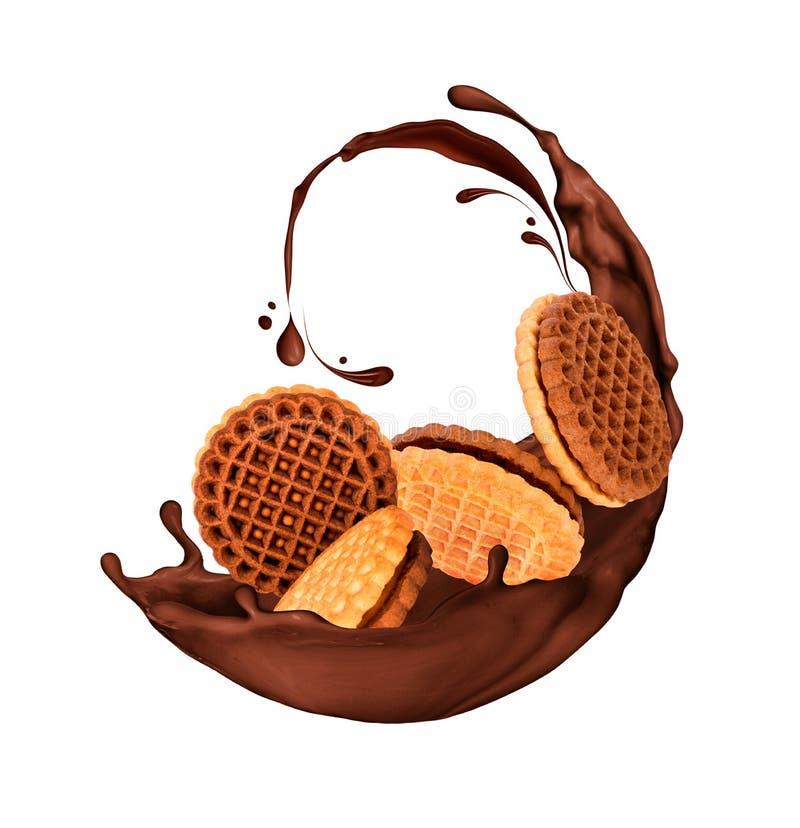Köstliche Plätzchen spritzt herein von der Schokolade, die auf Weiß lokalisiert wird lizenzfreies stockfoto