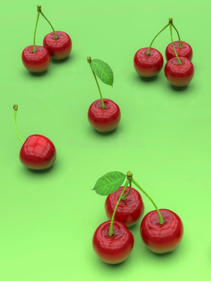 Köstliche rote Kirschen auf grünem Hintergrund vektor abbildung