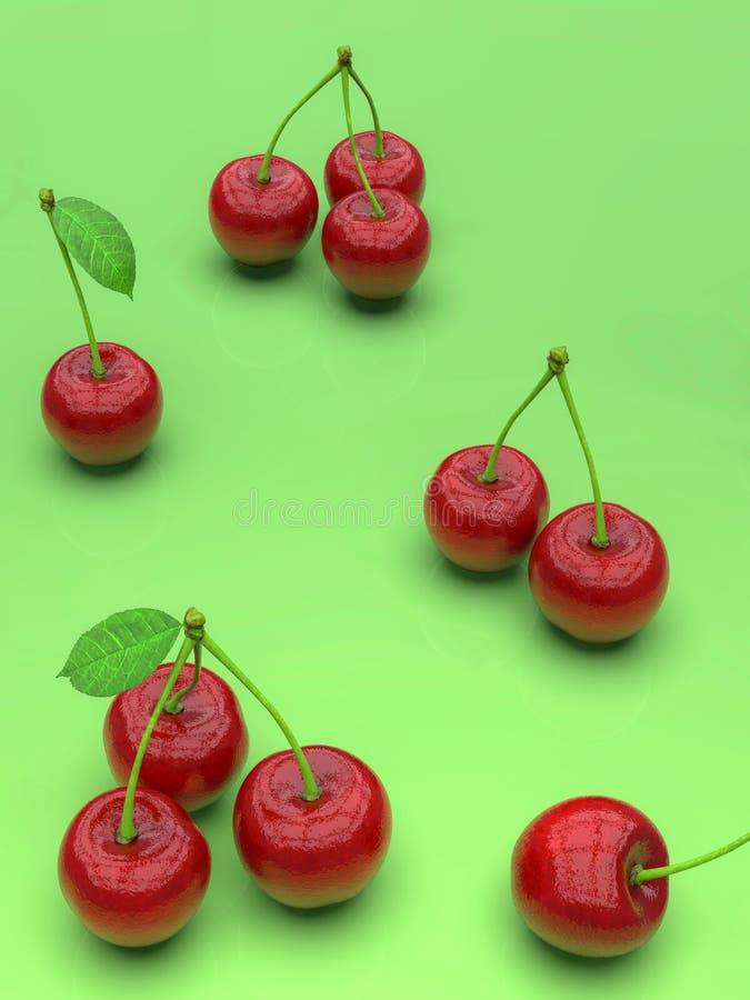 Köstliche rote Kirschen auf grünem Hintergrund stock abbildung