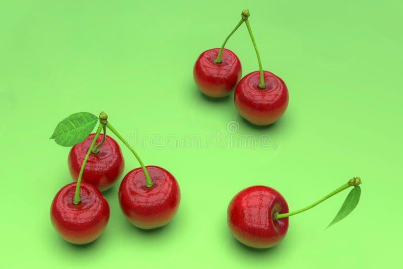 Köstliche rote Kirschen auf grünem Hintergrund lizenzfreie abbildung