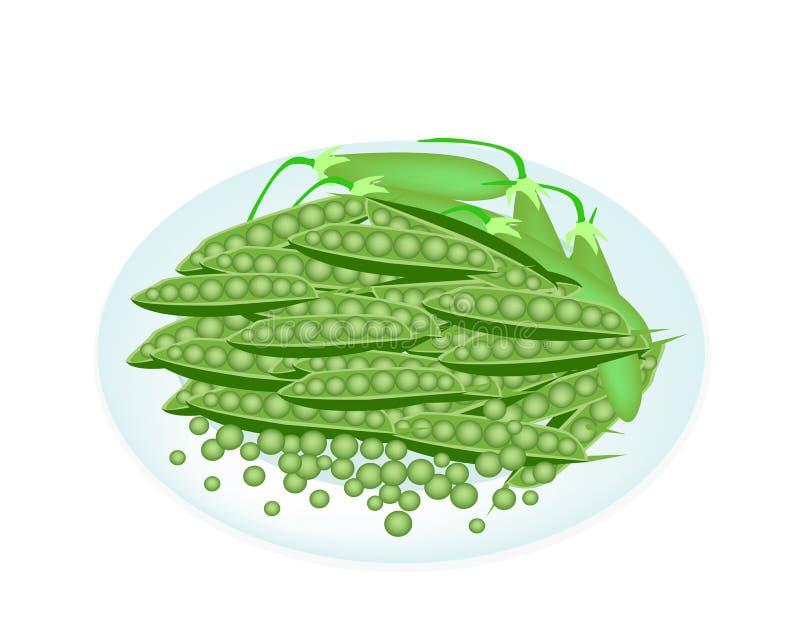 Köstliche süße grüne Erbse in der weißen Platte vektor abbildung