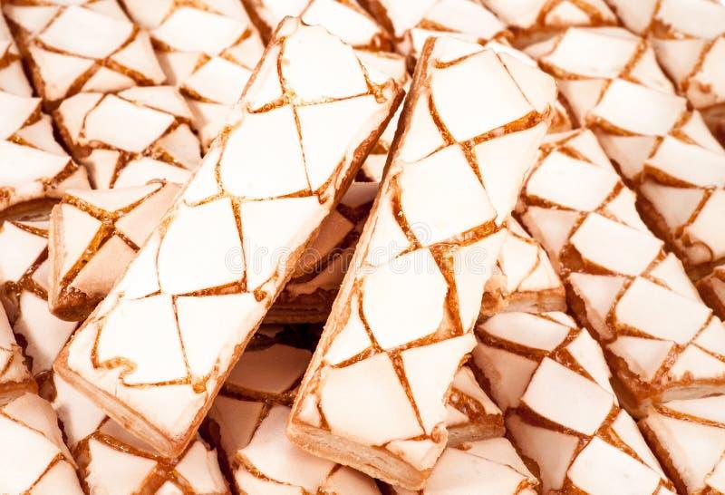 Köstliche süße Plätzchen Abstrakter Nachtischhintergrund stockfotografie