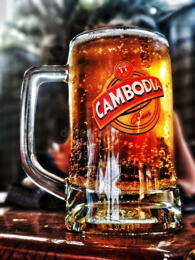 Köstliche Schärfentiefe des kalten Bieres stockfoto