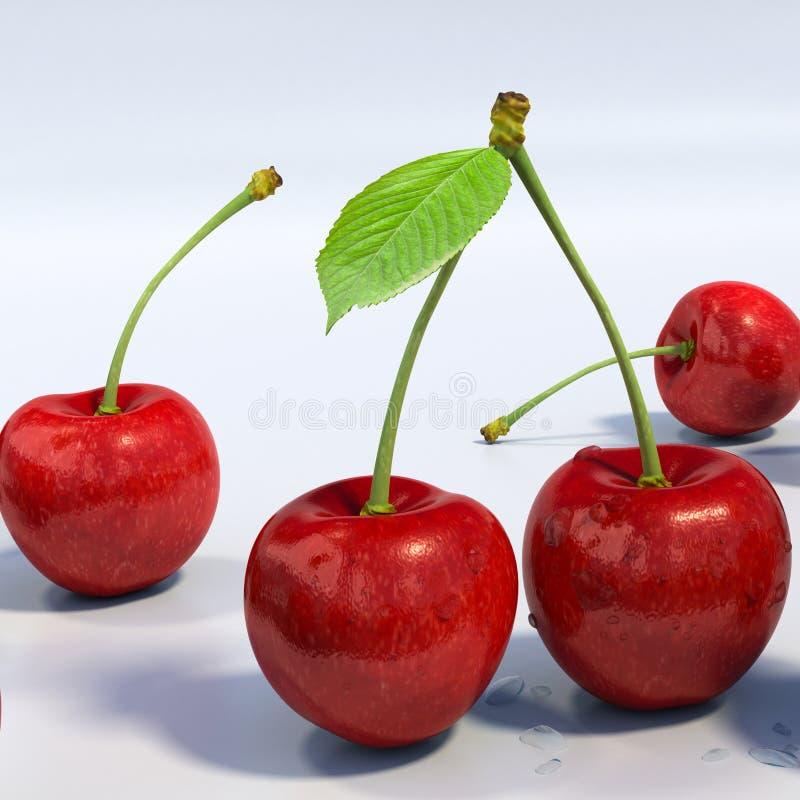 Köstliche schauende rote Kirschgruppe, ausführliches Makro lizenzfreie abbildung